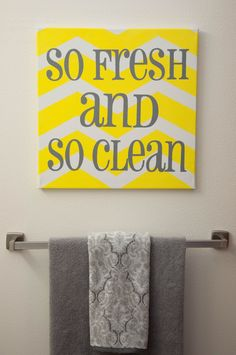 Gray and yellow bathroom- so gonna make this for my sisters new place :) she said she did her restroom yellow!