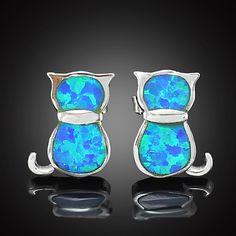 Cute Cat Shaped Synthetic Blue Fire Opal Stud earring by ...