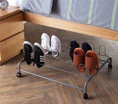 Dorm room under bed shoe storage, dorm storage ideas