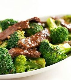 Broccoli Beef   INGREDIENTS  3/4 pound flank or sirloin, sliced thinly across the grain 3/4 pound broccoli florets 2 tablespoons high-heat cooking oil 2 cloves garlic, very finely minced or smushed through garlic smusher 1 teaspoon cornstarch, dissolved in 1 tablespoon water  For the beef marinade  1 teaspoon soy sauce 1 teaspoon Chinese rice wine (or dry sherry) 1/2 teaspoon cornstarch 1/8 teaspoon freshly ground black pepper  For the sauce  2 tablespoons oyster sauce 1 teaspoon Chinese…