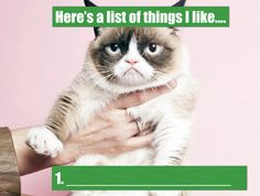 """A list of things I like (and why). A list of things I hate (and why). """"A Few of My Favourite Things"""" is from Sound of Music - make a list of your favourite songs (and why). Lists To Make, Sound Of Music, Grumpy Cat, Cat Memes, English Language, Funny Cats, Hate, Inspirational, Songs"""