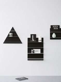 Organize the living room, bedroom, office or any other room with Paper Shelf in different dimensions. The shelves are a storage and decoration item in the same time. Gives a graphic and monochrome expression.