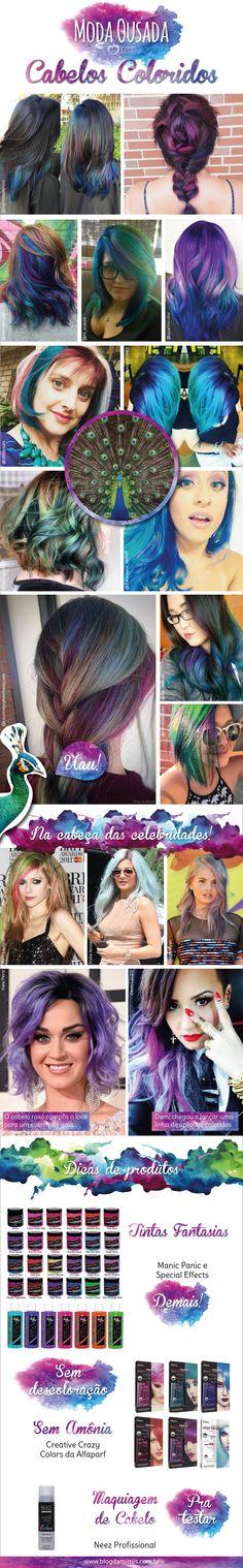 Moda ousada: cabelos coloridos - Blog da Mimis - a nova moda é inspirar-se em penas de pavão.