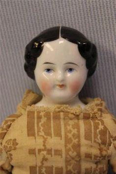 """Tiny 9"""" Antique Early CHINA HEAD DOLL Flat Feet c1850 Original Body & Outfit"""