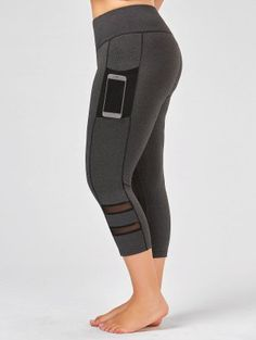 6658604db3a7c Plus Size Fishnet Mesh Panel Fitness Leggings - Gray Xl Workout Gear