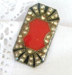 Vintage Brooch Red Art Deco Style Retro 1950 by VintageAndOld, $25.00
