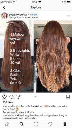 Redken Hair Color, Auburn Hair Balayage, Hair Salon Names, Redken Hair Products, Hair Color Formulas, Hair Toner, Hair Color Techniques, Short Wavy Hair, Hair Color And Cut