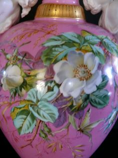 19TH Century Hand Painted Pink French Porcelain Centerpiece