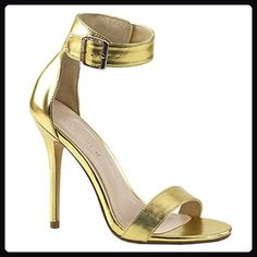 d98d00e1def Stiletto Heel Closed Back Open Toe Sandal with Buckle Ankle Strap Gold Mat.  Pu Item   (SKU)  Stiletto Heel Closed Back Open Toe Sandal with Buckle  Ankle ...