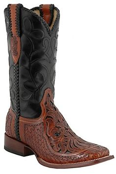 Corral Men's Brown Chedron Black Willow Tooled Square Toe Western Boots,  My next Pair
