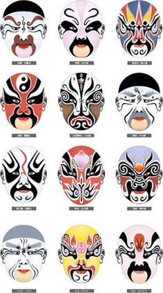 Various masks used in Kabuki theater. Kabuki is a type of Japanese theater, performed entirely by men. The plays often depict ancient stories. Chinese Opera Mask, Chinese Mask, Fox M, Kitsune Maske, Turandot Opera, Arte Peculiar, Chinese Element, Japanese Mask, Ligne Claire
