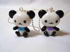 Best Friends Kawaii Pandas Polymer Clay Charms. This is the best version of a panda that I've seen.