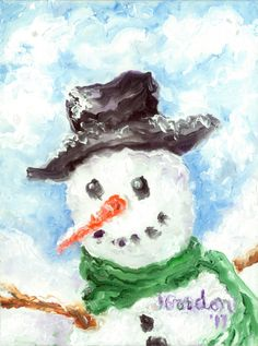 Cards  Head of Frosty the Snowman  Packs of 8 by MouthStickARTbyJG, $20.00