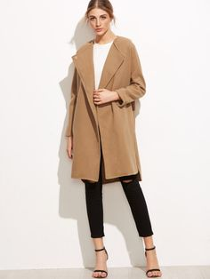 To find out about the Khaki Slit Side Curved Hem Coat at SHEIN, part of our latest Outerwear ready to shop online today! Hollywood Stars, Khaki Coat, Check Coat, Beige, Collar Styles, Coat Dress, Dress Codes, Fashion News, Hijab Fashion