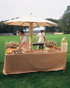 Not my look but a good idea!      From the Grill    For something so small, the hors d'oeuvre plays a surprisingly big role in a wedding. Remember to use delicious fresh ingredients, like grilled-to-order prawns, chicken satay, and eggplant. This grilling station, presented with daisies and yellow gingham, is at home at a garden reception.