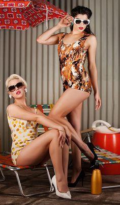 Charli and Sabrina modeling for Bowerbirdvintage Sydney Australia, Bikinis, Swimwear, One Piece, Retro, Modeling, Style, Fashion, Bathing Suits