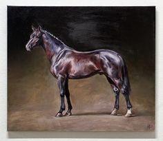 "Champion. Dutch Warmblood Stallion / Champion. Niederländisches Warmblut Jana Fox & Oleg Dyck [J&O Art Studio Cologne] 23.6"" x 31.5"" x 1.4"" / 60 x 80 x 3,5cm Oil on canvas | Öl auf Leinwand 2015 Warmblut"