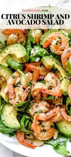 Citrus Shrimp And Avocado Salad This Simple But Totally Flavorful Salad Makes The Perfect Meal-Prep Meal For Lunch Or Dinner Thanks To Pan-Seared Citrus-Flavored Shrimp, Creamy Avocado, And The Crunch Of Sliced Almonds. Shrimp Avocado Salad, Avocado Hummus, Salad With Shrimp, Avacodo Salad, Avocado Toast, Shrimp Stuffed Avocado, Avocado Food, Keto Avocado, Avocado Fries