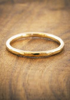 Simple hammered gold ring