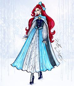 Williams Fashion Illustrations: Disney Divas 'Holiday' collection by Hayden Williams: Ariel Disney Princess Fashion, Disney Princess Dresses, Disney Dresses, Disney Style, Disney Princesses, Hayden Williams, Moda Disney, Ariel Disney, Mermaid Disney
