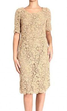 Valentino Beige Short Sleeve Lace Dress