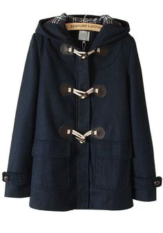 Navy Hooded Horn Buttons Loose Cotton Padded Coat