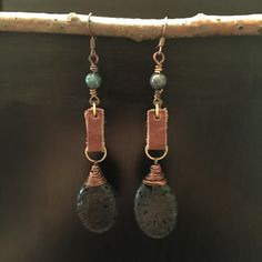 Lava Stone and Leather Drop Earrings #jewelry #earrings #cloverjewelry718 #lavastone #leather #recycled #wirewrap
