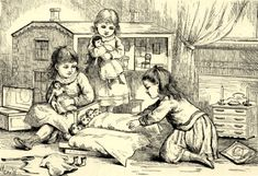 Vintage line drawing - little girls playing with dolls - dollhouse in the background