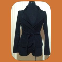 """H&M black corduroy tie front jacket size 6 Arm pit to end of sleeve 18 1/2"""", arm pit to bottom of coat 14"""", bust line 17"""". Two snap front pockets, snap closure hidden hardware. 100% cotton outer, 100% polyester lining. H&M Jackets & Coats"""