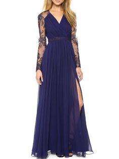 Surplice Patchwork Plain Chiffon Evening Dresses