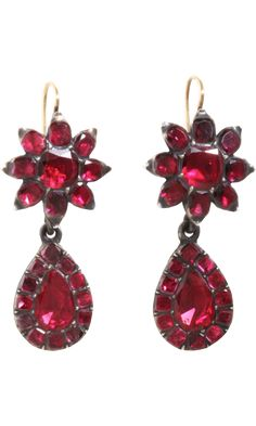 Garnet Floral Earrings, set in silver, 1780, Olivia Collings Antique Jewelry
