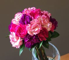 pink purple peach carnation bouquet