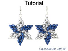SuperDuo Bead Patterns - Jewelry Making Tutorials - Two Hole Beads - Christmas - Simple Bead Patterns - SuperDuo Star Light Set - Beading Tutorial Pattern SuperDuo Star Necklace Earrings -