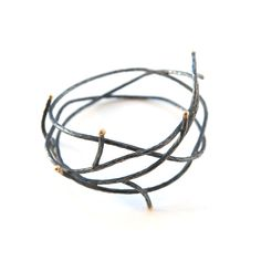 """oxidized sterling silver, 18k gold3 1/4"""" diameter, 1 1/2"""" wideHitomi Jacobs"""