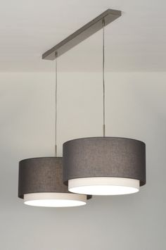 hanglamp 30415: modern, design, staal , rvs, stof, antraciet, wit, rond, langwerpig ...
