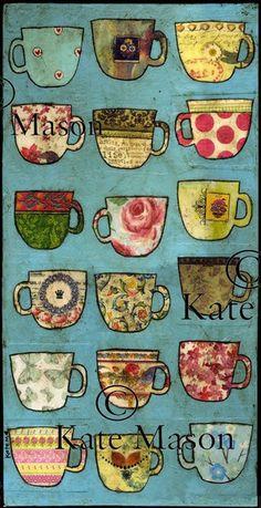 mixed media tea cups