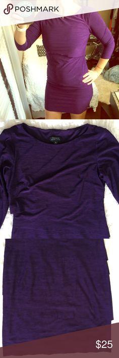 TAHARI layered purple stretch dress Very good used condition. Distressed edges by design. 🚫 No Trades  🚭 Smoke Free Home 📦 Next Day Shipping 🕉 Namaste 🙏 Tahari Dresses Midi