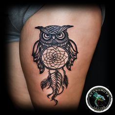 Dream Catcher & Owl Tattoo is a classic old school tattoo that can be used both for men tattoo and women tattoo.