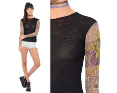 c83d8e04 Vintage 90s Psychedelic Paisley SHEER MESH Net Bodycon Crop Top Cyber Goth  Rave Club-Kid Stretch Shirt XS S *Free Shipping U.S.* vtg
