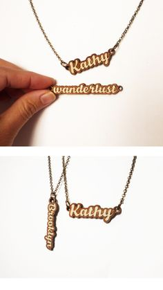 Laser Cut Name Necklace by Vectorcloud. The custom pendant is finely crafted out of a combination of walnut & maple.