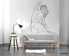 NUDES is our special collection of minimalistic drawings inspired by the beauty … - All About Decoration Interior Design Software, Office Interior Design, Bathroom Interior Design, Murals Street Art, Mural Art, Wall Murals, Wall Art, Wall Design, House Design