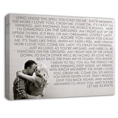 Take your favorite photo , then your favorite words and email them to Geezees@gmail.com and let them CREATE a one of a kind wall art keepsake JUST for YOU!. Great idea for engagement, wedding, family photographs