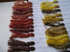 Jenny Dean's Anglo-Saxon dye experiments. Range of colors produced using madder, weld, and dyer's broom