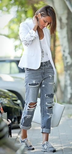 ripped jeans outfit | new balance sneakers | white blazer | street style ideas