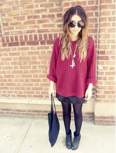 tights and baggy sweater