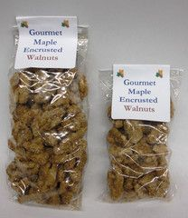 Maple Encrusted Walnuts in 2oz or 4oz bags.