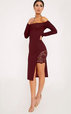 Burgundy Bardot Lace Panel Midi DressLook super sexy in this dress. Featuring a beaut bardo...