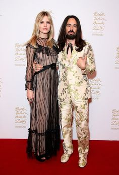 Georgia May Jagger with Alessandro Michele - winner of the 2015 International Designer Award #BFA