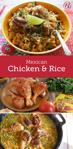 This Tex-Mex spin on chicken and rice is bound to be a family favorite. Traditionally, Mexican rice calls for tomatoes, onions, garlic and a few Mexican spices; these can be replaced by Old El Paso Ta(Mexican Chicken And Rice) Mexican Chicken And Rice, Mexican Meals, Chicken Rice, Mexican Dishes, Mexican Food Recipes, New Recipes, Recipies, Cooking Recipes, Favorite Recipes
