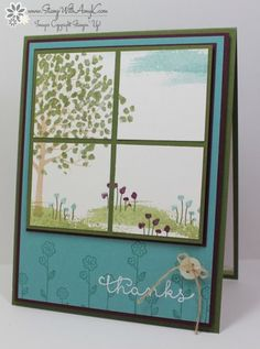 handmade card: Sheltering Tree from Stamp With Amy K ... split panel with a scene ... looks like a four paned window ... luv all of Amy's finishing details ... Stampin' Up!